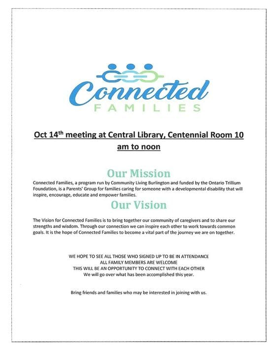 Reminder of Oct 14th meeting of Connected Families