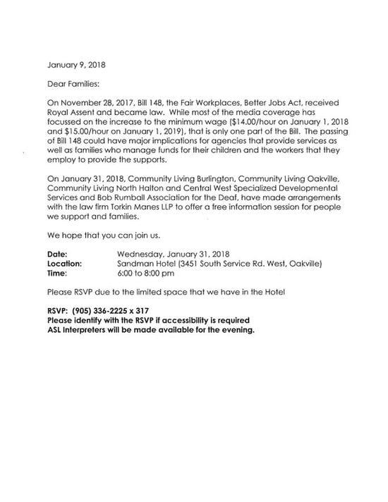 Reminder Bill 148 Session in Oakville January 31 6:30 pm