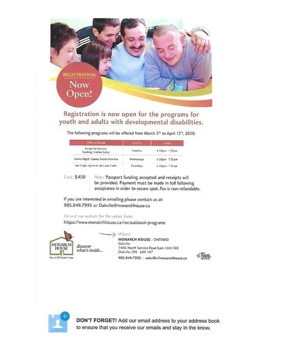 Monarch House New Programs starting in March