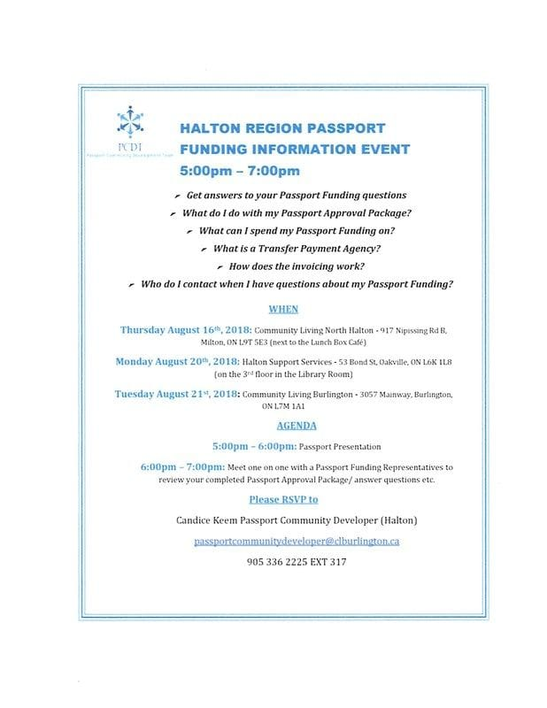 Halton Region Passport Funding Information Event