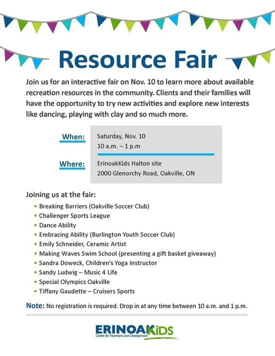 Resource Fair Nov 10th in Oakville