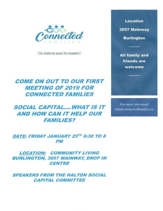 Connected Families Meeting....Halton Social Capital Committee January 25th in Burlington