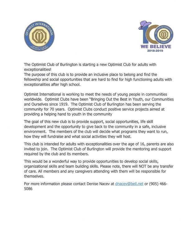 NEW!!!! a New Optimist Club for adults with exceptionalities