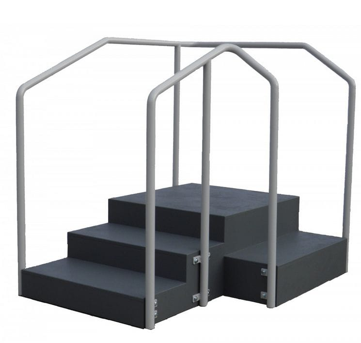 Medeleq Rehabilitation Stairs 90 degree with dual height rails.