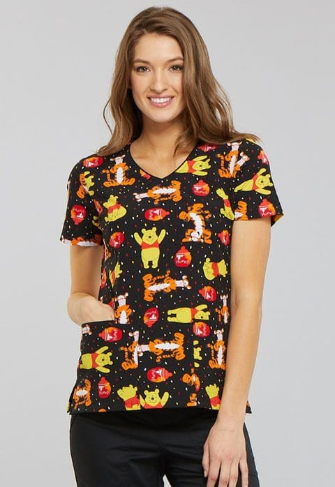 TF614 - A Bear likes Honey V-Neck Top Winnie the Pooh