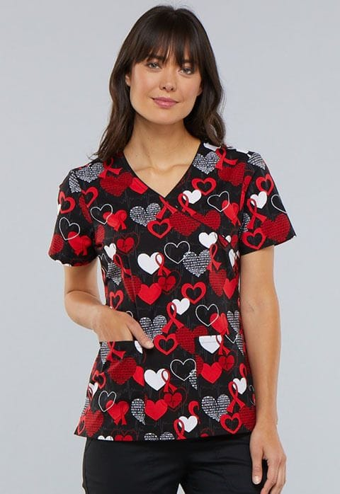 ..CK614 Heart Smart Mock Wrap Top 26""