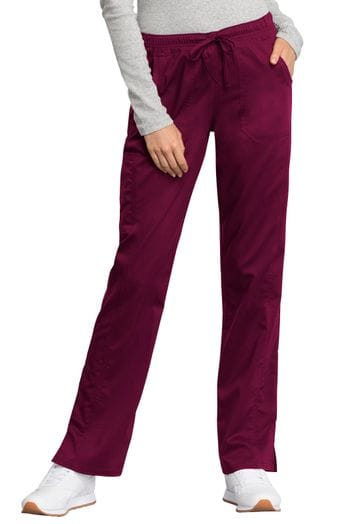 *WW235AB Women's Wine Mid Rise Drawstring Pant NEW