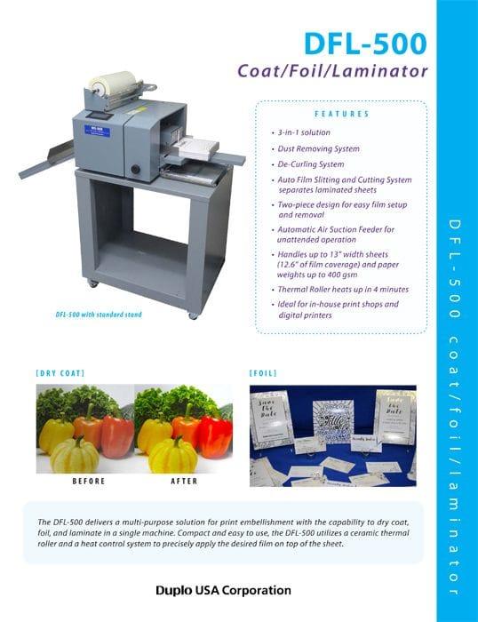 DUPLO DFL-500 COAT/FOIL/LAMINATOR   Print Digital Solutions