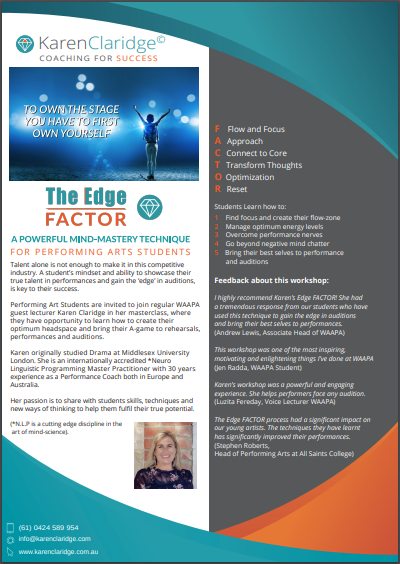 Performing Arts Students | The Edge Factor | Karen Claridge | Coaching for Success