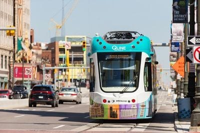 The new QLine Trams operational in Detroit