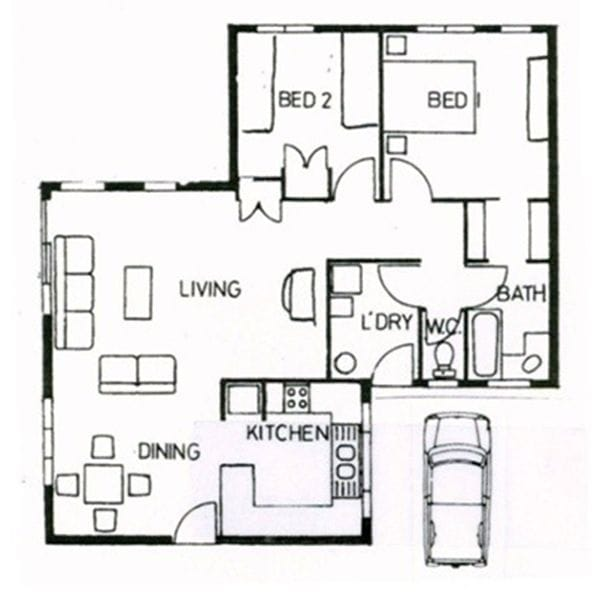 Layout/sketch of 2 bedroom Standard Villa