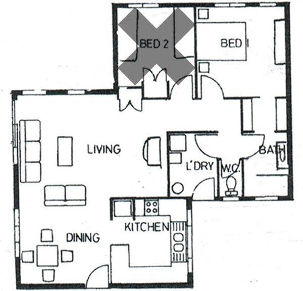One bedroom Standard Villa Floorplan