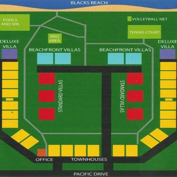 Layout of The Shores showing unit types and facilities