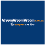 Logo of Vroom Vroom car hire with slogan we compare cars.