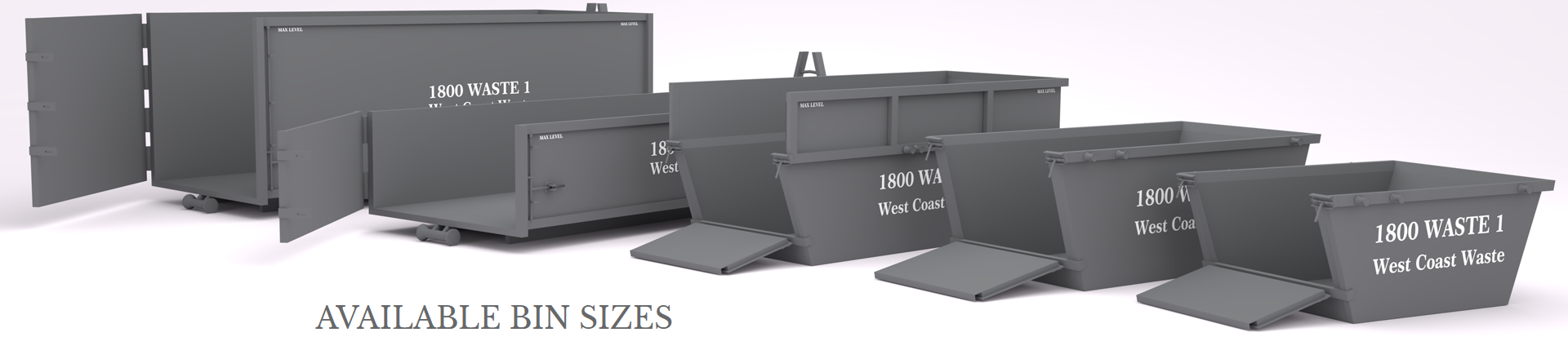 West Coast Waste available bin sizes