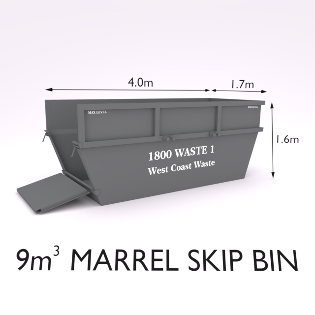 9 Cubic Metre Marrel Skip Bin-Zone 1