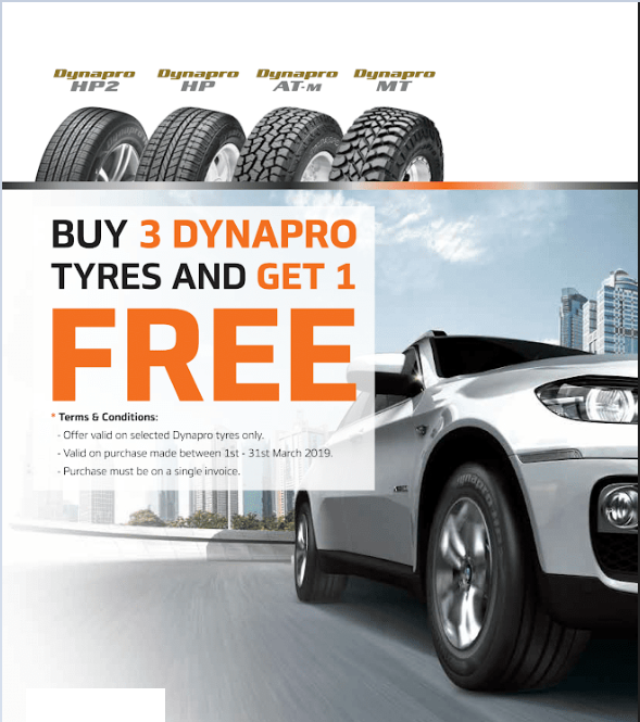 Buy 3 Dynapro Tyres and get one Free - Yatala