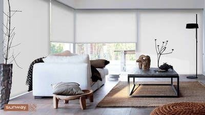 White translucent fabric, Sunway Roller Blinds, living area, interior design, stylish window treatments