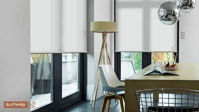 Mermet White Elements Translucent fabric, Quantum Roller Blind, large doors, dining area leading to the alfresco. Perth blinds.