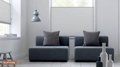 Sunway Cellular Blind, Top Down Bottom Up application, Top Down application, living room setting. Minimal light gaps, noise reduction, thermal properties, save energy, energy efficiency, Perth Blinds.