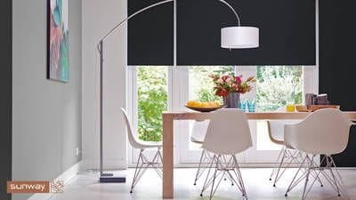 Sunway Elements Midnight Blockout Roller Blind, dramatic effect in dining area, monochrome, window covering, manufactured in Perth, Australia made.