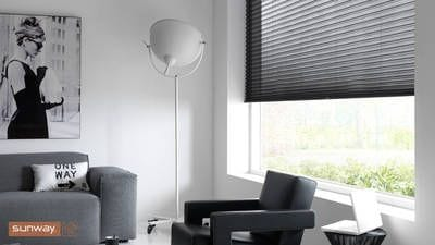 Sunway Cellular Blind, black sheer/Transparence fabric, minimal light gaps, Bottom Up application, Australian made, monochrome look