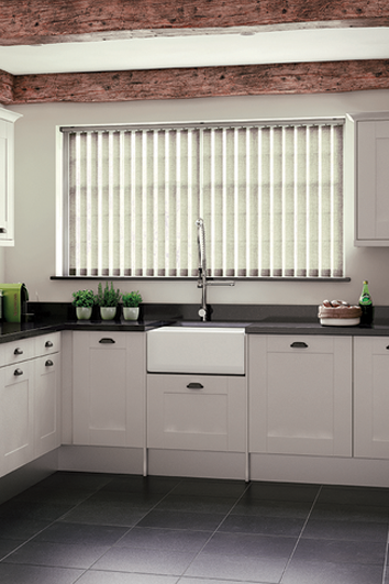 Vertical blinds, open, filtering light, translucent fabric in kitchen