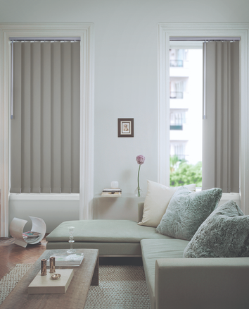 Deco Plus vertical blinds block out fabric in living area