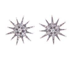 Small Silver Starburst Earrings