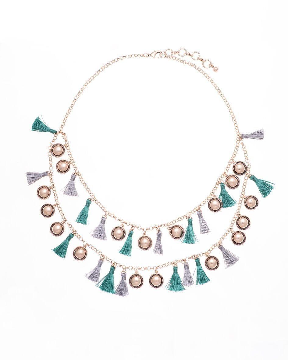 Green & Grey Tassel Necklace