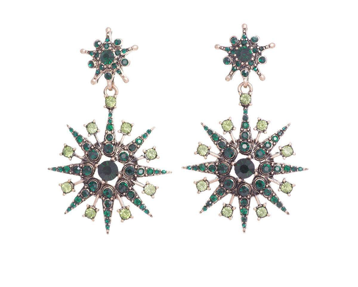Green Super Star Earrings