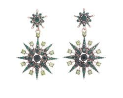 Green Super Star Earrings
