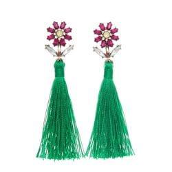Crystal Flower & Green Silk Tassel Earrings