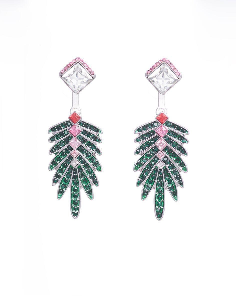 Green Crystal Palm Tree Earrings