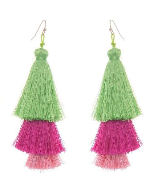 40103bf8aa6 Pink & Green Silk Tassel Earrings