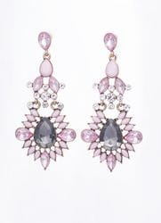 Pink and Grey Crystal Earrings