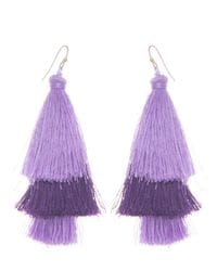 Purple Silk Tassel Earrings
