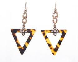 Faux Tortoiseshell Triangle Earrings
