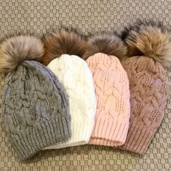 Wool Cable Knit & Fur Beanies