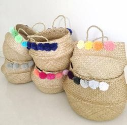 Belly Baskets with Pom Poms
