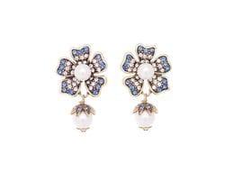Floral Pearl Drop Earrings