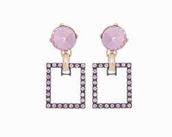 Pink & Diamante Square Earrings