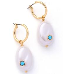 Faux Pearl & Turquoise Hoop Earrings