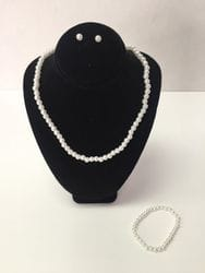 pearl necklace,earring and bracelet set.