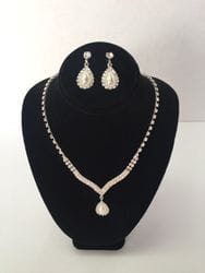 Rhinestone and pear necklace and earring set