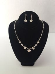 flower silver necklace and earring set with rhinestones