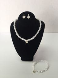 Heart necklace,earring and bracelet set.