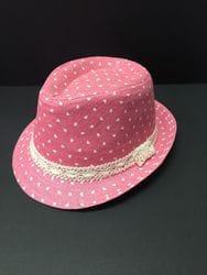 Polka Heart Pink Fedora
