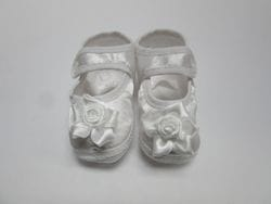 White satin baby shoe 2