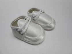 White satin baby shoe B2